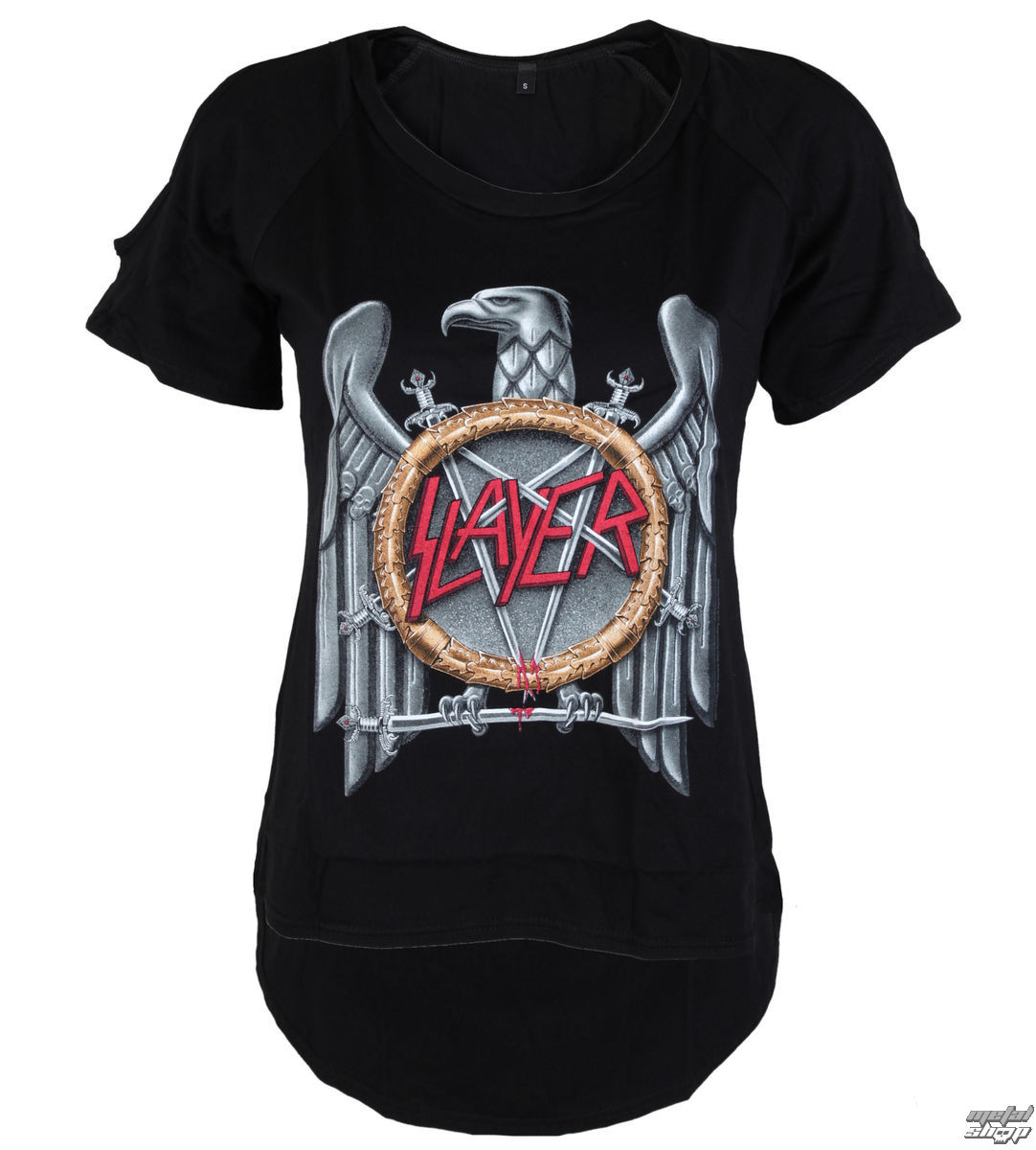 t-shirt metal donna Slayer - Silver Eagle Cut Out Tee - ROCK OFF