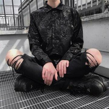 NUOVI Dead Threads Arancio Nero Pantaloni Uomo Cotone Borchie in Metallo Punk Emo Rock